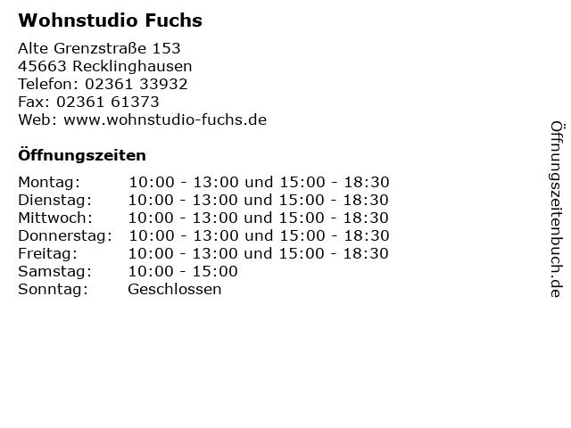 ᐅ öffnungszeiten Wohnstudio Fuchs Alte Grenzstraße 153 In