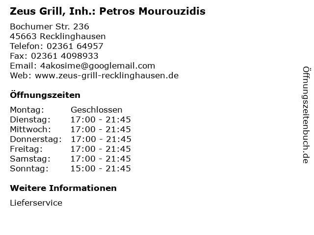 Zeus Grill, Inh.: Petros Mourouzidis in Recklinghausen: Adresse und Öffnungszeiten