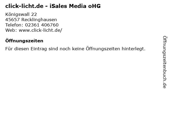 ᐅ Offnungszeiten Click Licht De Isales Media Ohg