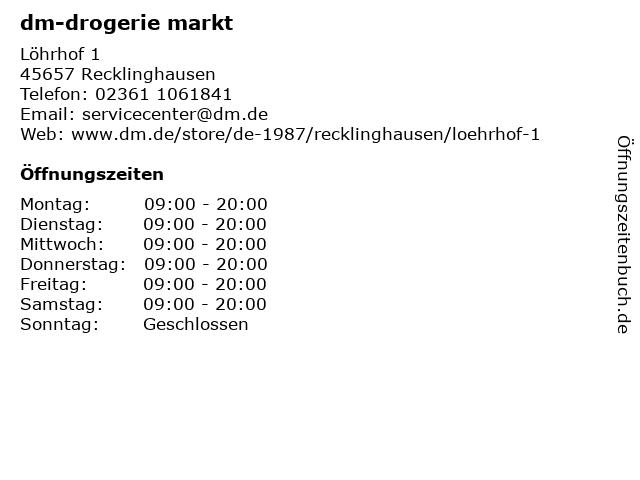 dm-drogerie markt in Recklinghausen: Adresse und Öffnungszeiten