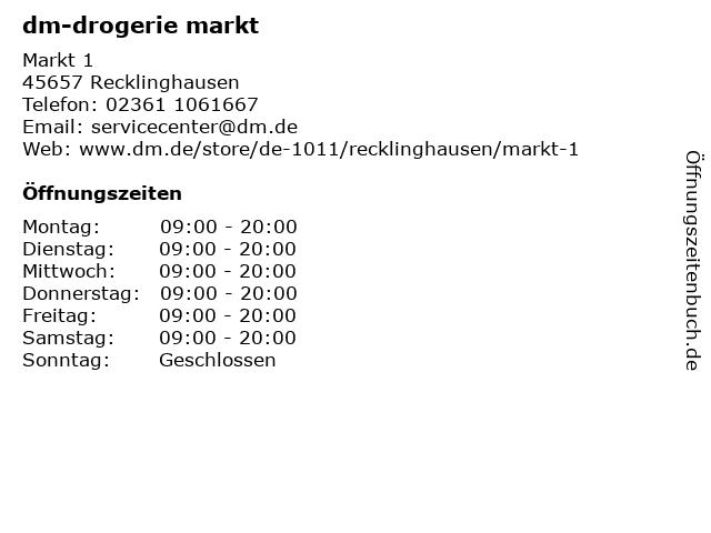 dm-drogerie markt GmbH + Co. KG in Recklinghausen: Adresse und Öffnungszeiten