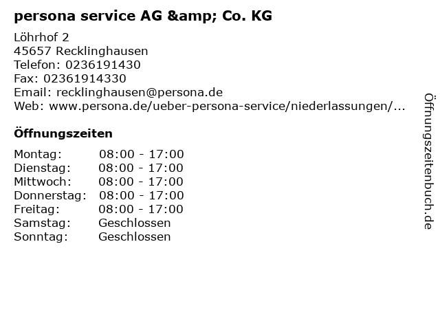persona service AG & Co. KG in Recklinghausen: Adresse und Öffnungszeiten