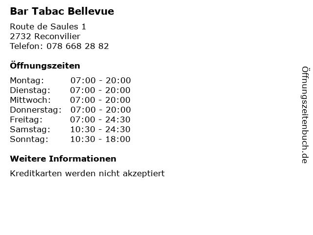 Bar Tabac Bellevue in Reconvilier: Adresse und Öffnungszeiten