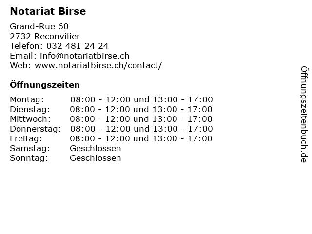 Notariat Birse in Reconvilier: Adresse und Öffnungszeiten
