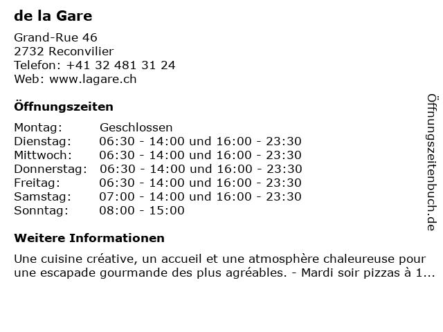 de la Gare in Reconvilier: Adresse und Öffnungszeiten