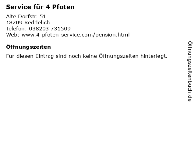 Service für 4 Pfoten in Reddelich: Adresse und Öffnungszeiten
