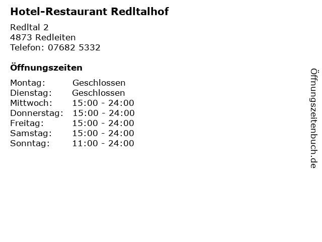 Hotel-Restaurant Redltalhof in Redleiten: Adresse und Öffnungszeiten