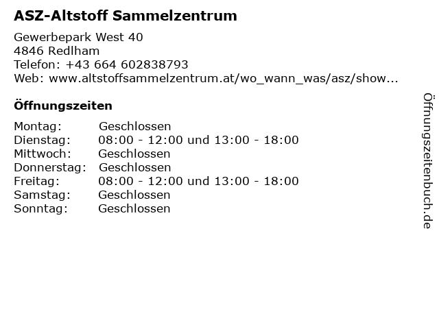 ASZ-Altstoff Sammelzentrum in Redlham: Adresse und Öffnungszeiten