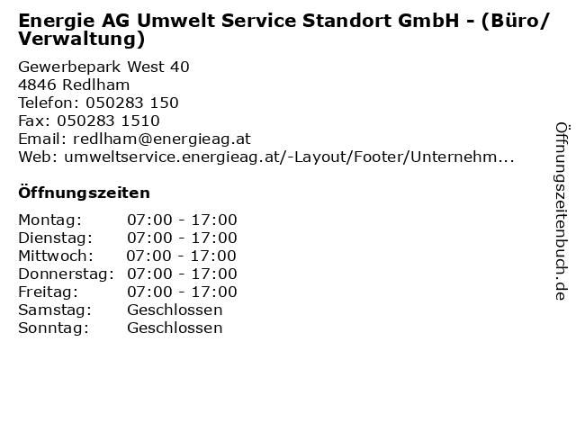 Energie AG Umwelt Service Standort GmbH - (Büro/Verwaltung) in Redlham: Adresse und Öffnungszeiten