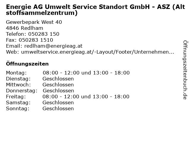 Energie AG Umwelt Service Standort GmbH - ASZ (Altstoffsammelzentrum) in Redlham: Adresse und Öffnungszeiten