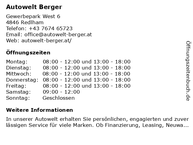 Ferdinand Berger GmbH - Verkauf in Redlham: Adresse und Öffnungszeiten