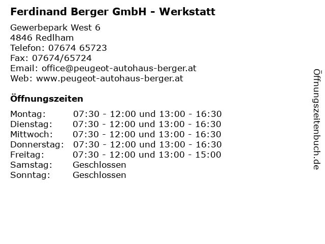 Ferdinand Berger GmbH - Werkstatt in Redlham: Adresse und Öffnungszeiten