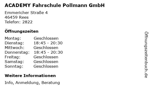 ACADEMY Fahrschule Pollmann GmbH in Rees: Adresse und Öffnungszeiten