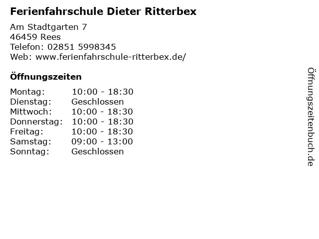 Ferienfahrschule Dieter Ritterbex in Rees: Adresse und Öffnungszeiten