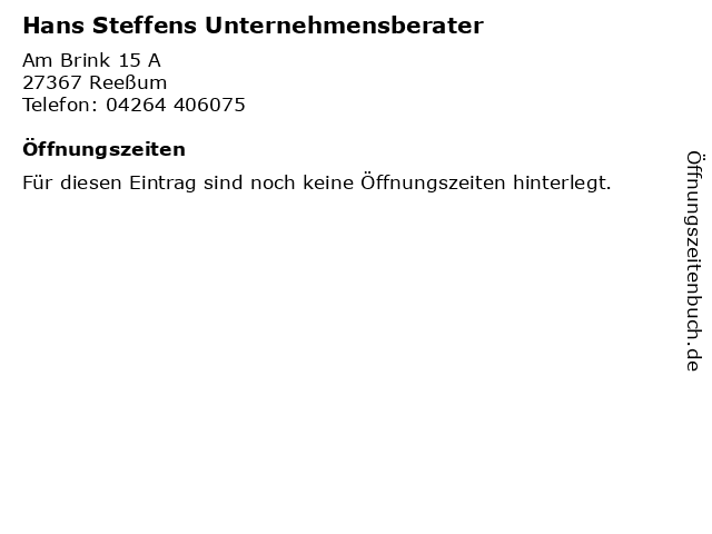 Hans Steffens Unternehmensberater in Reeßum: Adresse und Öffnungszeiten