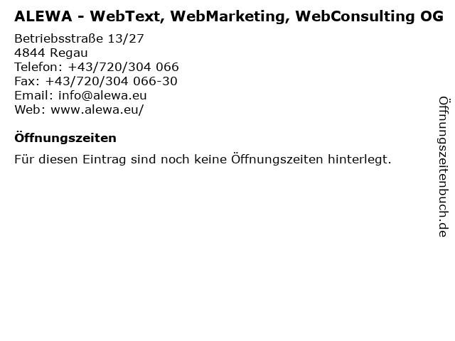 ALEWA - WebText, WebMarketing, WebConsulting OG in Regau: Adresse und Öffnungszeiten