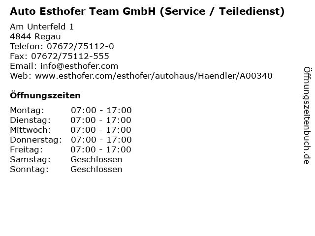 Auto Esthofer Team GmbH (Service / Teiledienst) in Regau: Adresse und Öffnungszeiten