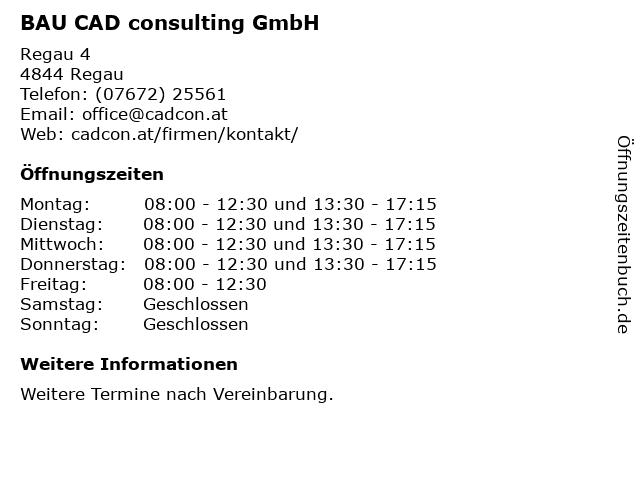 BAU CAD consulting GmbH in Regau: Adresse und Öffnungszeiten