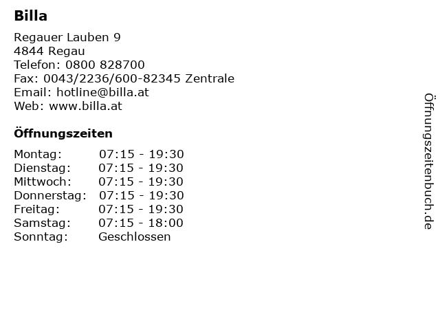 Billa in Regau: Adresse und Öffnungszeiten