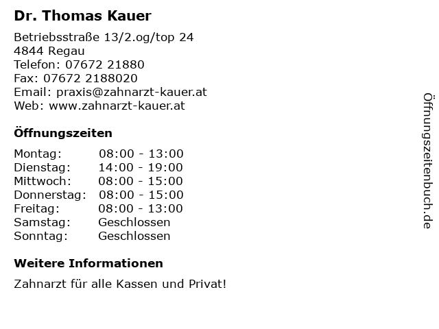 Dr. Thomas Kauer in Regau: Adresse und Öffnungszeiten