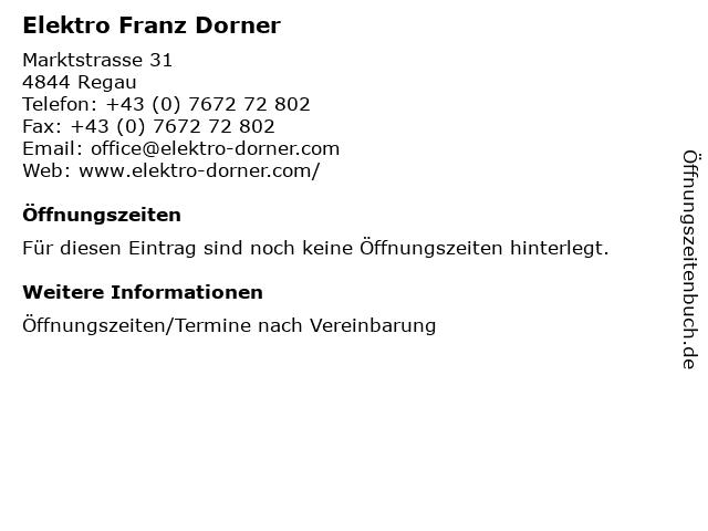 Elektro Franz Dorner in Regau: Adresse und Öffnungszeiten