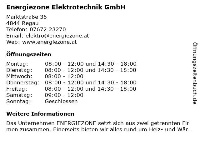 Energiezone Elektrotechnik GmbH in Regau: Adresse und Öffnungszeiten