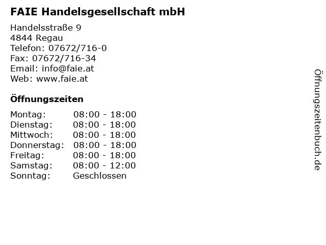 FAIE Handelsgesellschaft mbH in Regau: Adresse und Öffnungszeiten