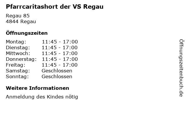 Pfarrcaritashort der VS Regau in Regau: Adresse und Öffnungszeiten