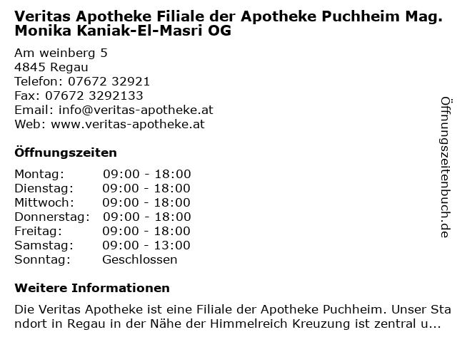 Veritas Apotheke Filiale der Apotheke Puchheim Mag. Monika Kaniak-El-Masri OG in Rutzenmoos: Adresse und Öffnungszeiten