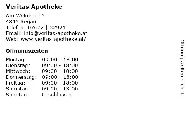 Veritas Apotheke in Regau: Adresse und Öffnungszeiten