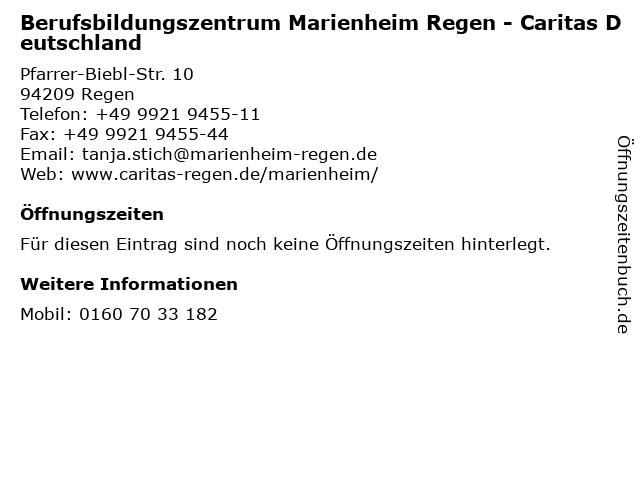 Berufsbildungszentrum Marienheim Regen - Caritas Deutschland in Regen: Adresse und Öffnungszeiten
