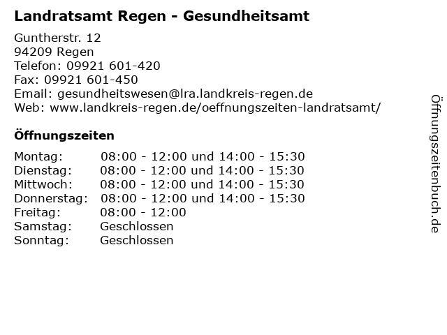 Landratsamt Regen - Gesundheitsamt in Regen: Adresse und Öffnungszeiten