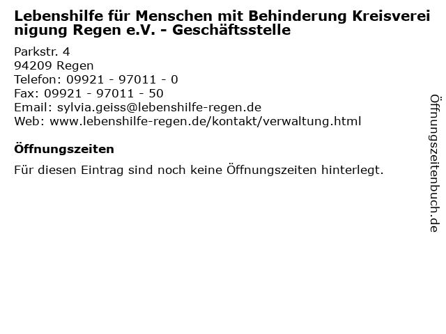 Lebenshilfe für Menschen mit Behinderung Kreisvereinigung Regen e.V. - Geschäftsstelle in Regen: Adresse und Öffnungszeiten