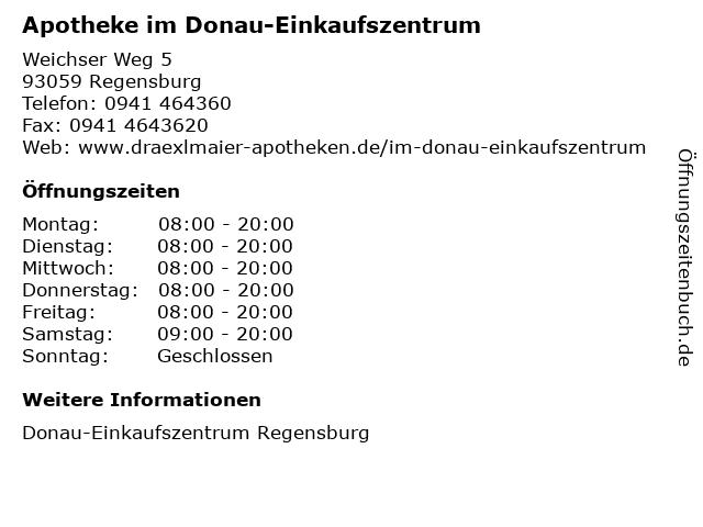 Apotheke im Donau-Einkaufszentrum in Regensburg: Adresse und Öffnungszeiten