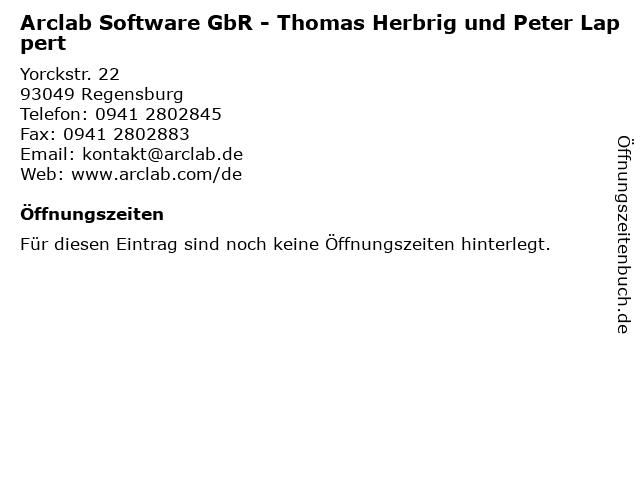 Arclab Software GbR - Thomas Herbrig und Peter Lappert in Regensburg: Adresse und Öffnungszeiten