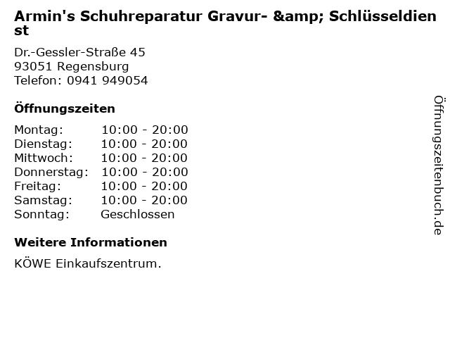 Armin's Schuhreparatur Gravur- & Schlüsseldienst in Regensburg: Adresse und Öffnungszeiten