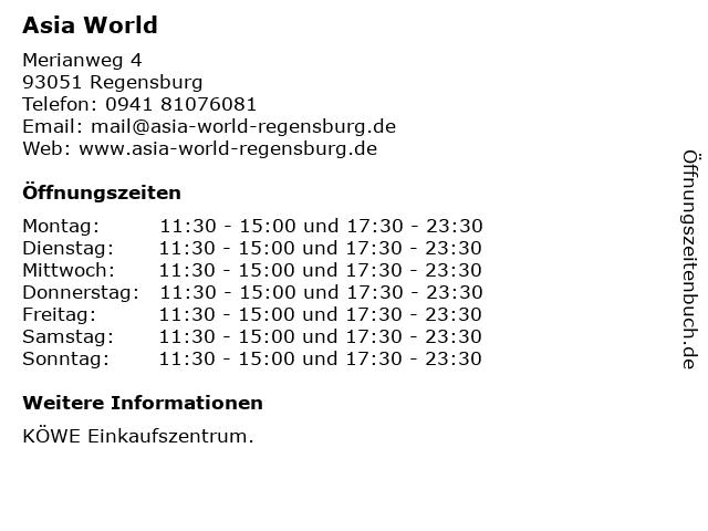 Asia World in Regensburg: Adresse und Öffnungszeiten