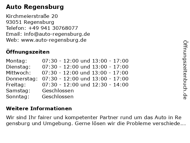 Auto Regensburg in Regensburg: Adresse und Öffnungszeiten