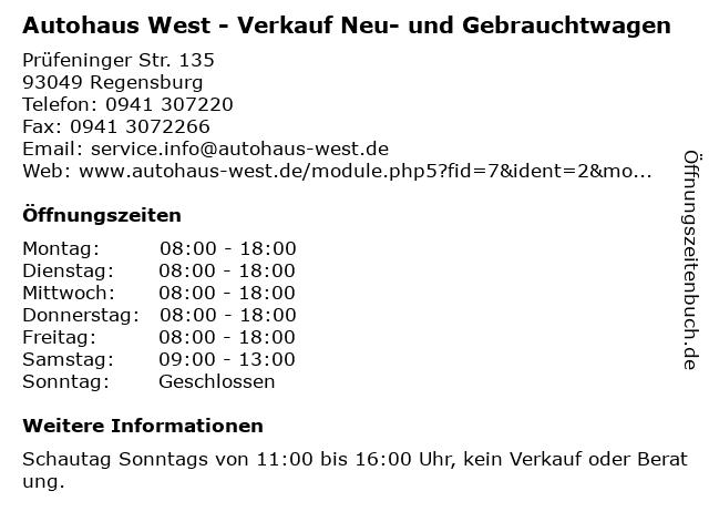 Autohaus West - Verkauf Neu- und Gebrauchtwagen in Regensburg: Adresse und Öffnungszeiten
