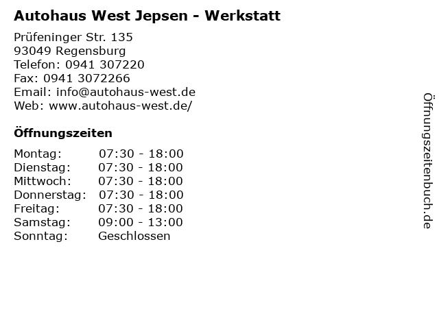 Autohaus West Jepsen - Werkstatt in Regensburg: Adresse und Öffnungszeiten
