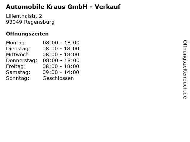 Automobile Kraus GmbH - Verkauf in Regensburg: Adresse und Öffnungszeiten