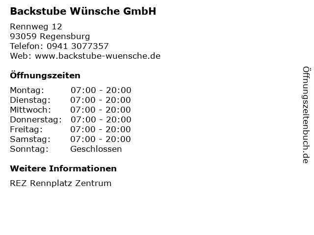 Backstube Wünsche GmbH in Regensburg: Adresse und Öffnungszeiten