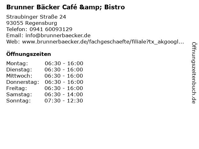 Bäckerei Brunner KG - Filliale Candis Regensburg in Regensburg: Adresse und Öffnungszeiten