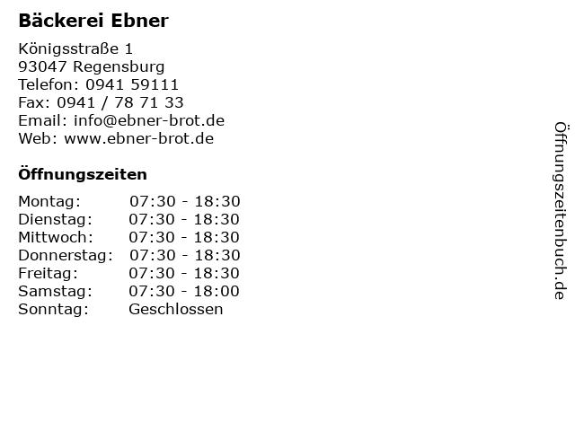 Bäckerei Ebner in Regensburg: Adresse und Öffnungszeiten