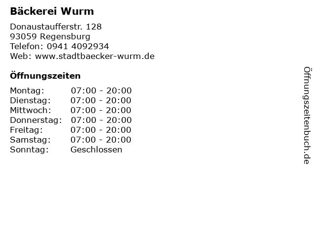 Bäckerei Wurm in Regensburg: Adresse und Öffnungszeiten