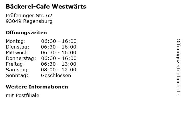 Bäckerei-Cafe Westwärts in Regensburg: Adresse und Öffnungszeiten
