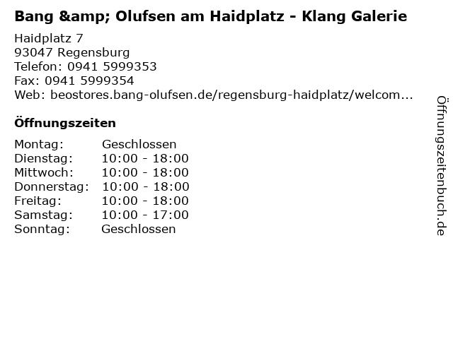 Bang & Olufsen am Haidplatz - Klang Galerie in Regensburg: Adresse und Öffnungszeiten