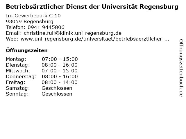 betriebsarzt uni regensburg