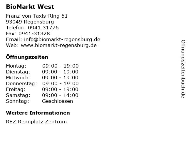 BioMarkt West in Regensburg: Adresse und Öffnungszeiten