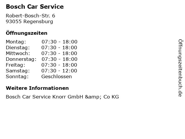 Bosch Car Service in Regensburg: Adresse und Öffnungszeiten